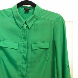 Green ANN TAYLOR Button Down